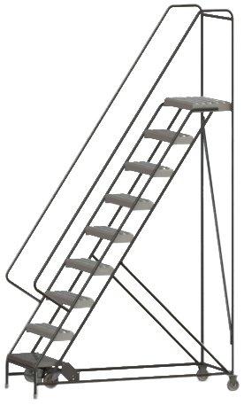 Tri-Arc WLAR109245 9-Step All-Welded Aluminum Rolling Industrial & Warehouse Ladder with Handrail, Grip Strut Tread