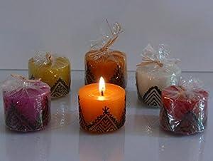 Marokkanische Kerze Henna/Wachs, Farbe pink