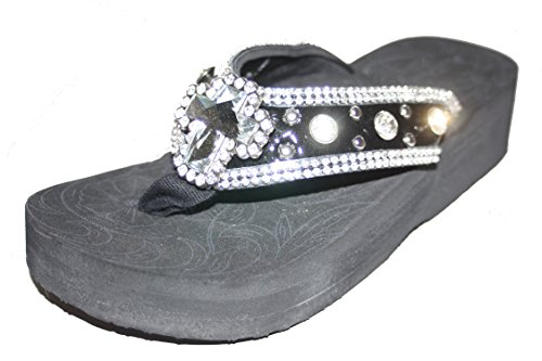 Montana West Shiny Black Cross Wedge Flip Flops north of montana