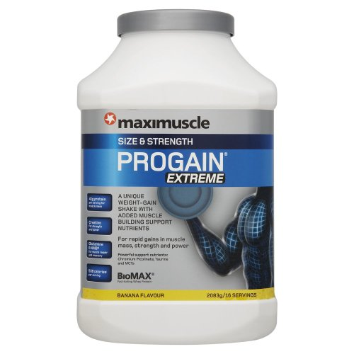 Maximuscle Progain Extreme 2083 g Banana Size and Strength Shake Powder
