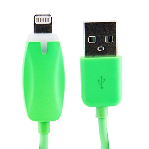 LB1 High Performance New Lightning Cable for Apple iPhone 5s - 32GB - Space Gray LED Light Charging and Data Sync 8-PIN Lightning Cable (Green) (5s 32gb Space Gray compare prices)