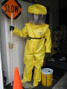 Tychem BR Hazmat Suit Chemical Protective Clothing MEDIUM W/ Attached Gloves & Booties, Zipper Front Closure & Removable Hood. Includes Kevlar Glove Liners
