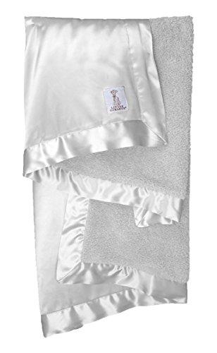Little Giraffe Chenille Satin Baby Blanket, Silver - 1