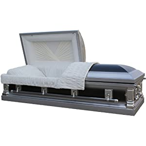 2010 - 18 Gauge Steel Casket<br />Black and Silver Finish&#8221; /></a></p> <p>      Product Description</p> <p>            Features &#038; Dimensions  2010-18 gauge Steel  Two-Tone Ebony and Silver Finish  Soft Silver Crepe Interior in a French Fold Design  Half Couch  Full Rubber Gasket Seal  Eternal-Rest adjustable bed and MattressMatching Pillow and Throw  Sculpted Sq <a href=