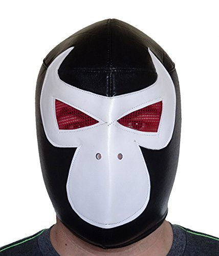 BANE VILLAN Lucha Libre Wrestling Mask (pro-fit) Costume Wear - Black/White