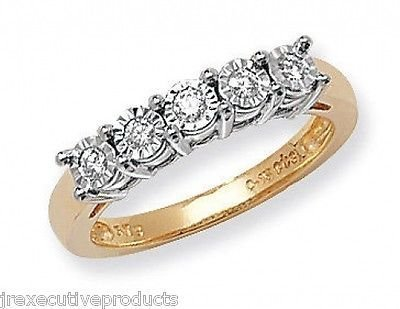 J R Jewellery 413310 9ct Yellow Gold Diamond Eternity Ring Illusion Set 0.15CTW