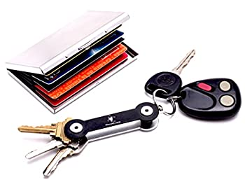 Metal RFID Blocking Wallet Case w/ Compact Pocket Key Organizer for Credit Card Protection & No-Jingle Key Access from ProMugizi