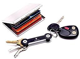 Metal RFID Blocking Wallet Case w/ Compact Pocket Key Organizer for Credit Card Protection & No-Jingle Key Access