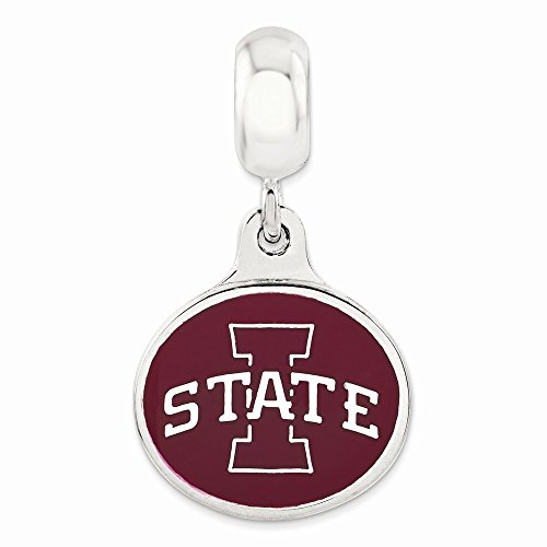 Sterling Silver Iowa State University Collegiate Enameled Dangle Bead