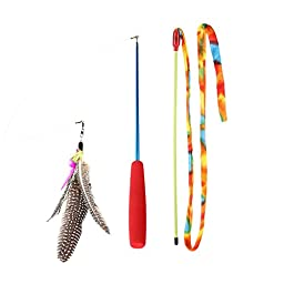 [2pack] Cat Toys , Zaneeta® Cat Feather Toys Interactive Cat Wand and Kitten toys. (cat wand)
