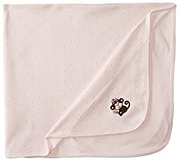 Little Me Baby Girls\' Pretty Monkey Blanket, Light Pink, One Size