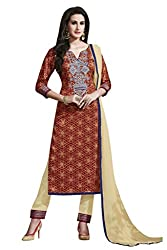 Kvsfab Brown & Cream Satin Cotton printed un-stitched dress material