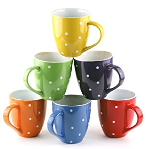 Francois et Mimi, Set of 6 Large 16 Ounce Ceramic Coffee Mugs (Polka Dot)