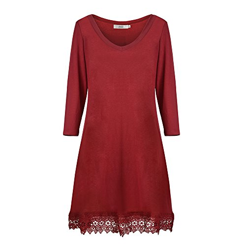 Dreaweet Women's Long Sleeve V-Neck A-line Floral Lace Loose Casual Dress(FBA)