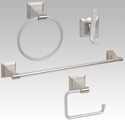 bathroom accessories discount 4 piece bathroom hardware accessory set with 24 towel bar. Black Bedroom Furniture Sets. Home Design Ideas