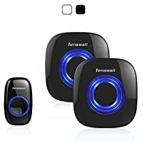 Tenswall Wireless Doorbell Kit with LED Indicator 52 Chimes 4 Levels Sound Volume, Operating at 1000ft Open Range, 1 Push Button Transmitter, 2 Plug-in Chimes, No Batteries Required for Receivers