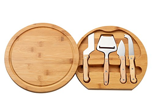 Bamboo Cheese Fruit Board and Tools Set, Knives Included - 5 Pieces - by Juvale