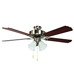Yosemite Home Decor WESTFIELD-BBN-4 52-Inch Ceiling Fan with Light Kit and Sapele/Maple Blades, Bright Brushed Nickel