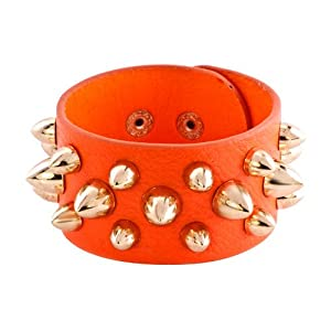 Pugster Stainless Steel Studded Orange Leather Cuff Bracelet
