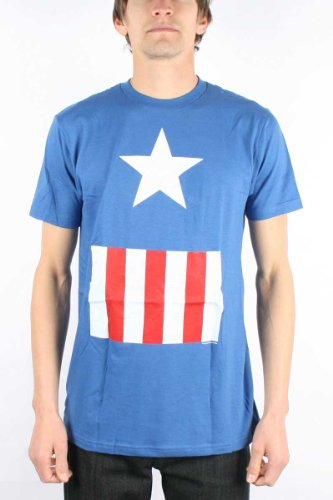 Men's Marvel Comics Captain America Suit Costume Fitted Jersey T-shirt