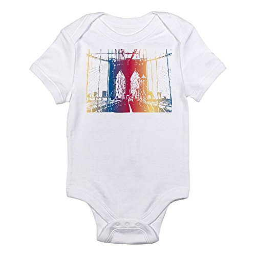 Cafepress Rainbow Brooklyn Bridge Infant Bodysuit - 0-3M Cloud White back-499122