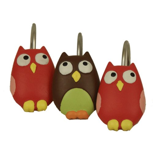 Owl Shower Curtain Hooks Set of 12