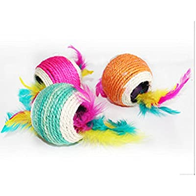 Healthy Clubs Funny Sisal Rope Ball With Hole Teaser Play Scratch Chewing Toy For Cat Dog Pet