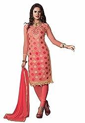 Jinal Fashion women's Chanderi Silk salwar suit Dress Materia(Pink_color)