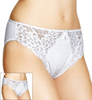 2 Pack Per Una Floral Lace High Leg Knickers