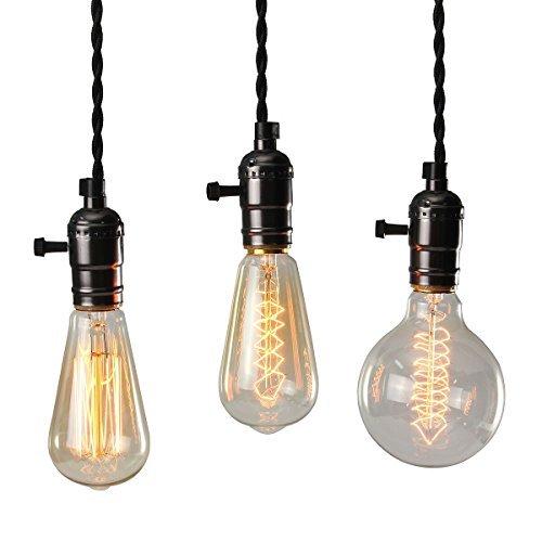 KINGSO-E27-lampade-attacco-Vintage-Edison-lampadario-lampadari-corda-luce-con-tre-attacchi-e-Interruttore-senza-lampadina