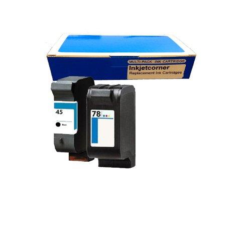Inkjetcorner 2 Pack (Black & Color) Hp 51645A C6578Dn 45 78 Remanufactured Combo Print Ink Jet Cartridge High Quality For Hp Color Copier 180 190 280 290 Officejet G55 G85 G95 K60 K80 V40 V40Xi 5110 Photosmart 1000 1100 1115 1200 1215 1218 1315 Deskjet 92