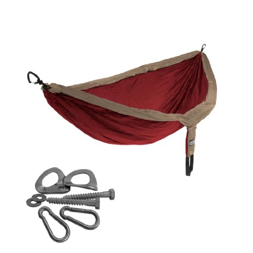ENO Double Deluxe Hammock with Indoor Hanging Kit (Tomato / Khaki)