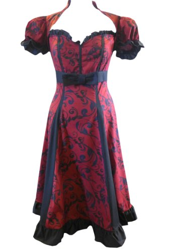 Black & Burgundy Red Puff Sleeve Sweetheart Alice Wonderland Dress Size 6-28