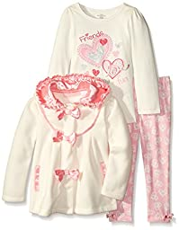 Kids Headquarters Girls\' Cream Jacket with Tee and Printed Pants, Cream/Pink, 4T