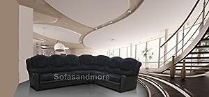 Texas 7 Seater Sofa (Fabric, chenille black)