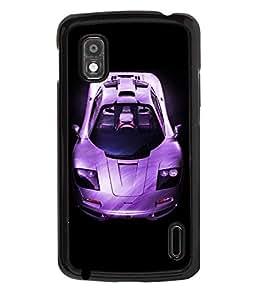 PRINTVISA Sports Car Premium Metallic Insert Back Case Cover for LG Nexus 4 - D6054