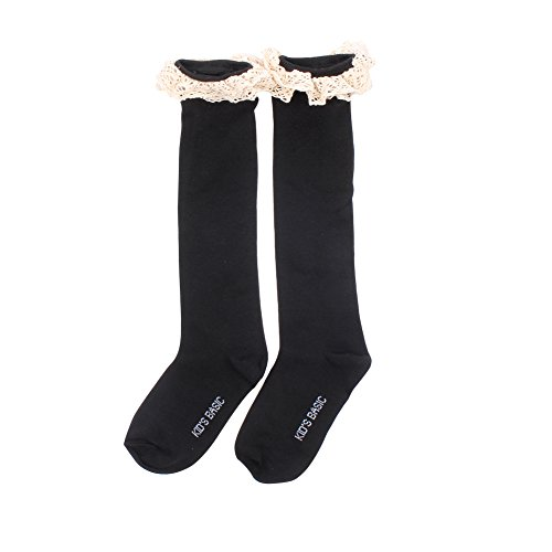 Urparcel Girls Lace Stockings High Knee Tights Bowknot Cotton School Socks