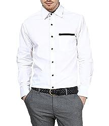 Dazzio Men's Slim Fit Cotton Casual Shirt (DZSH0081_Grey_42)