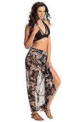 PrettySecrets Women's Swimwear Sarongs (077234_Black and Multi Print_Free Size)
