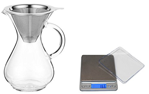 CoastLine Pour Over Coffee Carafe and Digital Pocket Pro Scale Bundle | 4 Cup Coffee Maker with Reusable Stainless Steel Filter | Kitchen Scale Displays Standard or Metric | Make the Best Coffee (Pocket Coffee Maker compare prices)