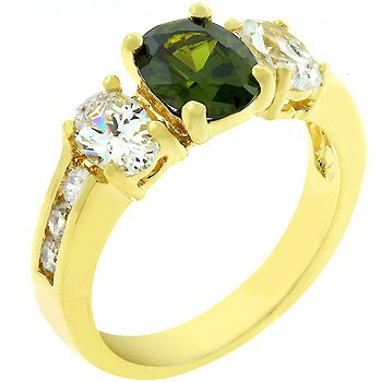 14k Gold Bonded Anniversary Ring with Prong Set Oval Cut Olive Cz Between Assorted Clear Cz in Goldtone Women Jewelry (8)