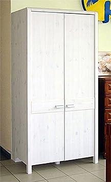 Kinderzimmer Kleiderschrank 2 - turig 103 cm 6726 weiss gewachst Kiefer massiv