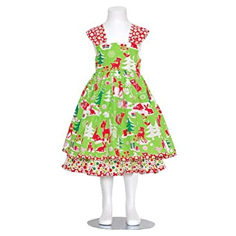Jelly The Pug Little Girls Green Holiday Scene Boutique Jumper Dress 6
