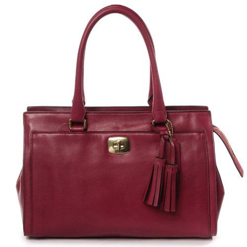 NWT Coach Legacy Leather Chelsea Carryall Satchel Deep Port Dark Red 25359