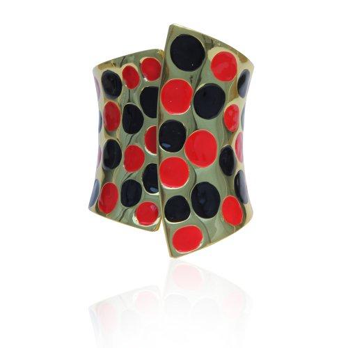 Red and Black Polka Dot Pop Art Bangle Bracelet