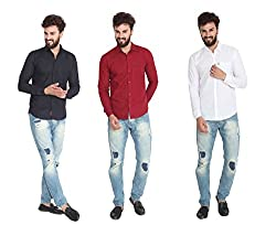 Pelican's Pack Of 3 Black, Maroon & White Slim Fit Casual 100% Cotton Shirt