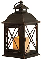 Smart Design Aversa Metal Lantern with LED Candle
