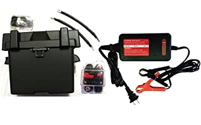 "Trolling Motor Battery Box Kit: Marine Grade U1 Box fits any Group U1 battery, VMAX 3.3 Amp Charger / Maintainer, 9"" Cables, Circuit Breaker. Marine Grade Battery Box Kit ideal for boats and 18-35lb, MinnKota, cobra, sevylor and other trolling motor batte"