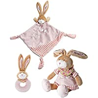 Pastel Pink Little Plush Rabbit 3 Piece Toy Gift Set With Matching Soft Toy Comfort Blanket And Rattle For Newborn...