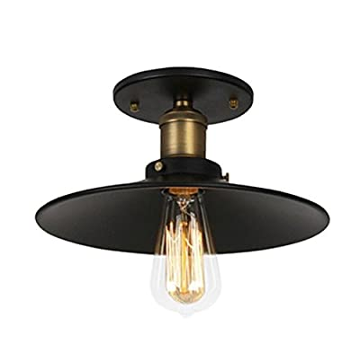 "Ohr Lighting Edison 11.5"" Ceiling Light BULB INCLUDED, Matte Black/Antique Brass (ED260C3)"